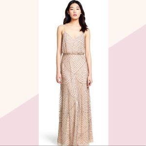 Adrianna Papell beaded blush gown